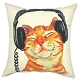 YOUR SMILE Music Cat Square Cotton Linen Decorative Throw Pillow Case Cushion Cover Pillowcase for Sofa 18 x 18 Inch