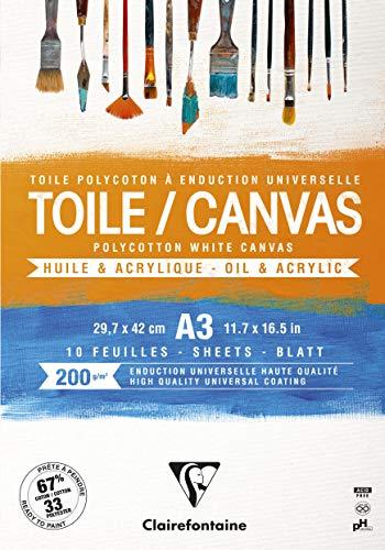 Clairefontaine 975208C - Un bloc encollé de 10 toiles prêtes à peindre 29,7x42 cm 200g, Cosmos Blanc