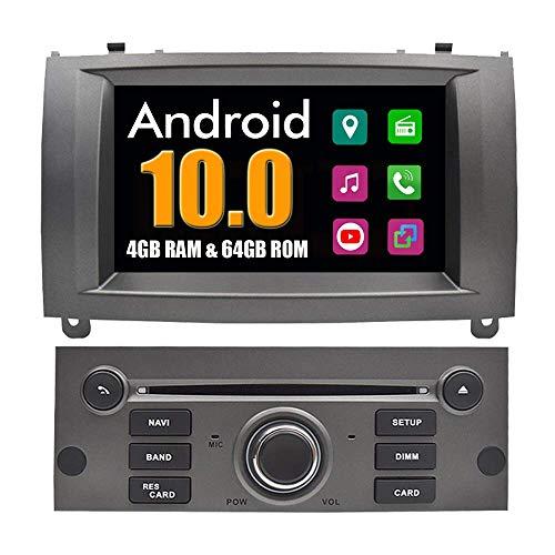 LYHY Sistema Android estéreo para automóvil Sistema Multimedia para automóvil para Peugeot 407 con DVD Estéreo Navegación GPS Radio Bluetooth USB PhoneLink (Marco Plateado)
