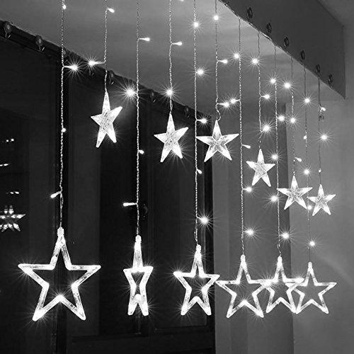 Lumières de rideau LED,SUAVER 2.5m 138LEDs Imperméable 12 Etoile Guirlandes lumineuses,Lumières en Fée Batterie pour Noël/mariage/décorations de jardin (Blanc-1)