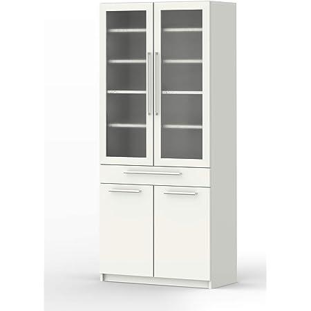 パモウナ 食器棚YC 【幅80×高さ180cm】 YC-S800K プレーンホワイト