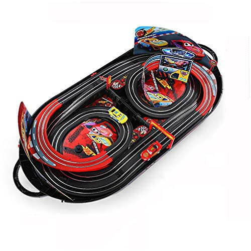 QQYYY Electric Race Car Track Set, Cars Speed Challenge Electric Powered Slot Car Race Track for Kids Toy Race Track Set, Two 1:32 Scale Cars, Children Ideal Xmas and Birthday Gifts