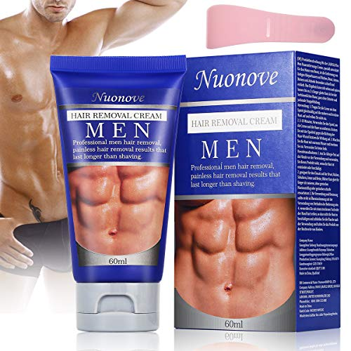 Hair Removal Cream for Men, Depilatory Cream, Natural Painless Permanent Thick Hair Removal Cream + Plastic Scraper, Used on Bikini,Underarm,Chest, Back, Legs and Arms for Men,( 60ml)