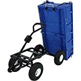 Sunnydaze Utility Steel Dump Garden Cart with Liner Set, Outdoor Lawn Wagon with Removable Sides,...