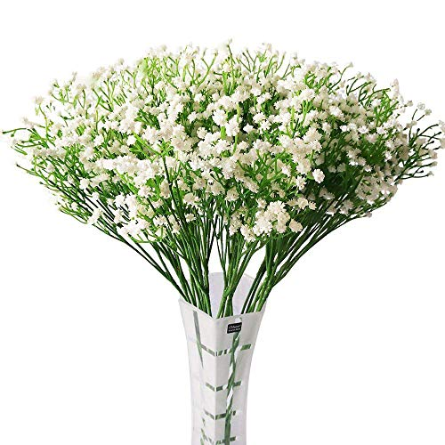 HANTAJANSS 12 pcs Baby Breath Gypsophila Artificial Flowers Bouquets Fake Real Touch Flowers for Wedding Party Decoration DIY Home Decor 21 White