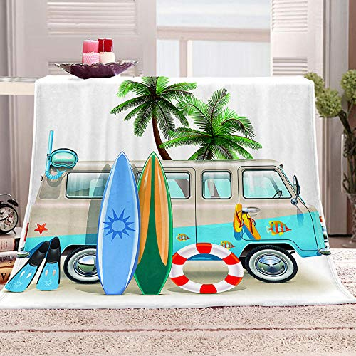 ZZZXX Blanket Vacation Beach Surfboard 3D Printed Throw Fleece Throw Blanket Fleece Throw Blanket For Adult Children Soft Warm Microfiber Bedding For Bed Couch 59X79 Inch