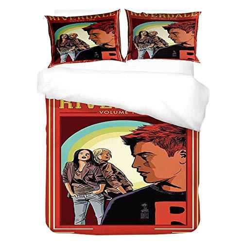 Iverdale Bed Linen Jughead, Southside Serpents 135 X 200 Cm Bed Linen Set with Zip for Teenagers Girls Children 3D Galaxy Winter Pop's Duvet Cover with Pillow Caser,1,140x210cm