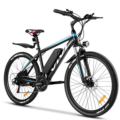 VIVI Electric Bike 26' Electric Mountain Bike 350W Adult Electric Bicycle/Electric Commuter Bike, Ebike with Removable 10.4Ah Battery, Professional Shimano 21 Speed (Blue)