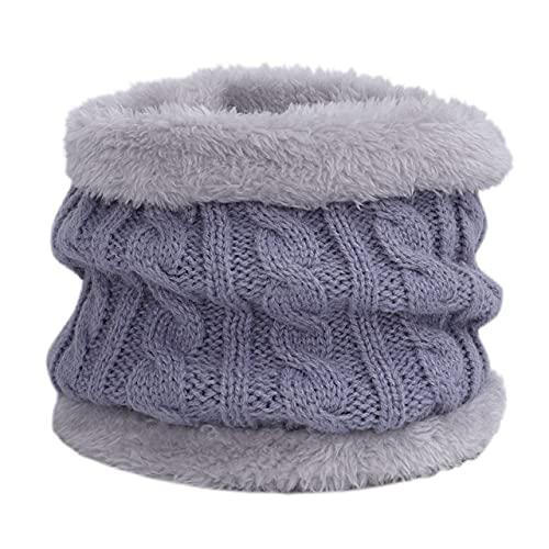 Warme Mützen Mütze für Mädchen Ring Schal Pompons Winterhüte Strickmützen Schal 2 Stück Mode Wintermütze Schal Set Für Kinder-Gray-3