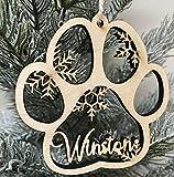 Decoracion Arbol Navidad Adorno de Navidad de impresión de la pata de la pata, adorno del perro, ornamento de la pata, adorno de memoria, adorno de memorial de perros, nuevo adorno de cachorro