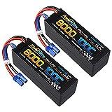 Powerhobby 4s 8000MAH 100C 14.8V Lipo Battery w EC5 Plug Hard Case (2) : Fits Arrma Kraton 8S / Losi DBXL-E…