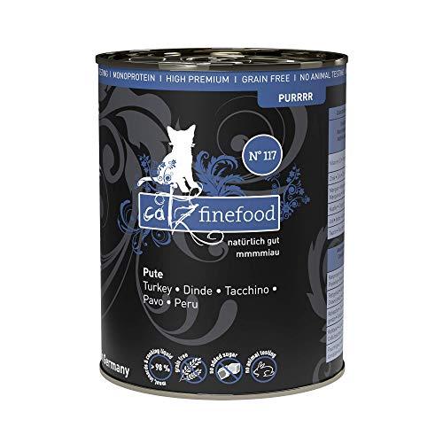 catz finefood Purrrr Pute Monoprotein Katzenfutter nass N° 117, für ernährungssensible Katzen, 70% Fleischanteil, 6 x 400g Dose