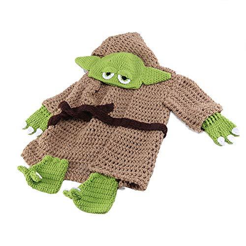Baby Yoda Costume, Baby Costume Set Doccia Regalo Abiti Carino Cartoon Compleanno Fatti A Mano Crochet Knit Neonato Fotografia Prop Yoda Cappello Morbido Copertura Del Pannolino Abbigliamento cachi M