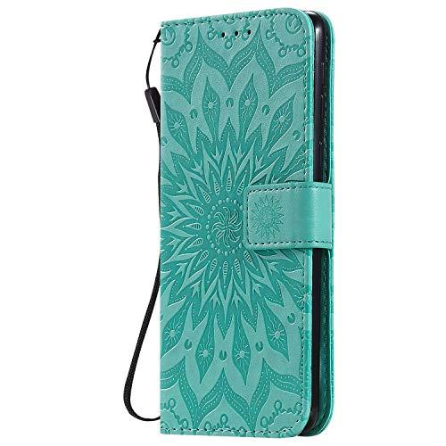 KKEIKO Hülle für Galaxy Note 10 Lite, PU Leder Brieftasche Schutzhülle Klapphülle, Sun Blumen Design Stoßfest HandyHülle für Samsung Galaxy Note 10 Lite - Grün