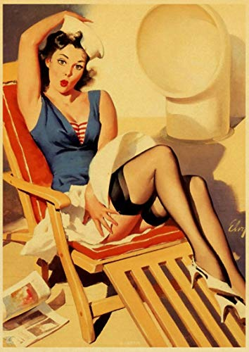 yangchunsanyue Sexy Lady American Pin Up Poster Retro Art Posters Decoración De Pared Impresa Home Cafe Bar Decoración Imagen De Pared 40x50Cm No Frame (Zr-3660)