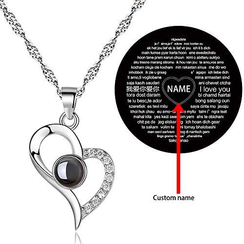 Damofy I Love You Necklace 100 Languages Kette ich Liebe Dich 100 Sprachen in Silber Erinnerung eines Mädchens Halsketten für Frauen