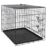 ZENY 42 inch Dog Crate Double Door Folding Metal Dog or Pet Crate Kennel with Tray and Handle