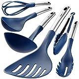 Wanbasion Blue 6 Piece Kitchen Utensils Set Stainless Steel, Kitchen Cooking Utensils Set Dishwasher...