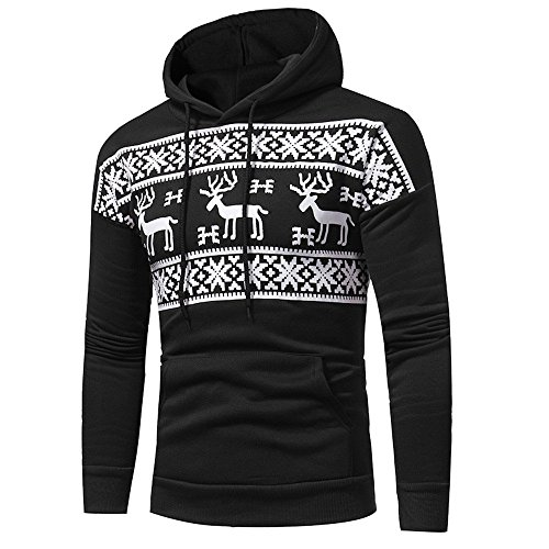 Men's Hoodie Hoodie Long Sleeve Christmas Classic Sweatshirt Winter Top Sweater Tops Men Fashion (Color : Schwarz, One Size : 2XL =B:132Cm/52.0')