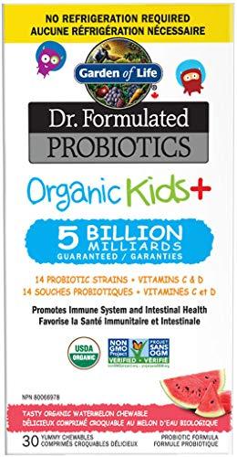 Garden of Life Dr. Formulated Organic Kids+ Probiotics + Vitamins C & D Tasty Organic Watermelon 30 Yummy Chewables, Gluten and SOYA Free