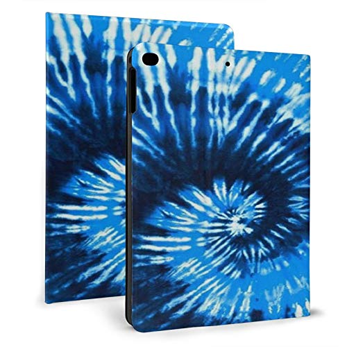 Blue Tie Dye IPAD Cases Fashion Tablet Protective case PU Leather Anti-Fall Automatic Sleep Tri-fold Spin Full Protection