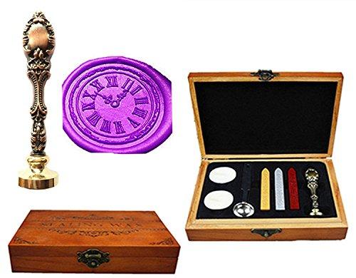 MNYR Vintage Klok Luxe Houten Doos Brons Metalen Pauw Bruiloft Uitnodigingen Cadeaukaart Papier Stationaire Envelop Seal Aangepaste Logo Wax Seal Sealing Stamp Wax Stick Smelten Lepel Hout Gift Box Kit Red Brass
