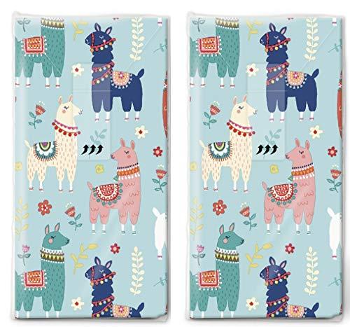 20 Taschentücher (2x 10) Taschentücher Viele bunte Lamas/Tiere/Kinder
