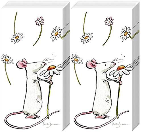 20 zakdoeken (2 x 10) muis met bloemetjes | geluksbrenger | cadeau