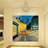 N / A Van Gogh Night Street Cafe Terrace Pintura al óleo Carteles e Impresiones Vintage Arte de la Lona Imagen de Pared escandinava para decoración del hogar 30x30cm Sin Marco