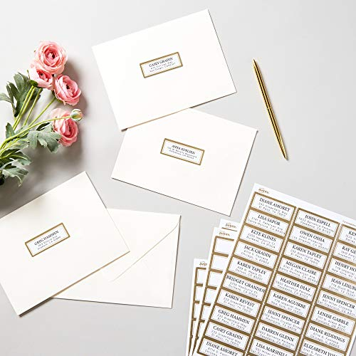 """AVERY Address Labels, Matte White with Metallic Gold Borders, 1"""" x 2-5/8"""", 300 Blank Address Labels (6540)"""