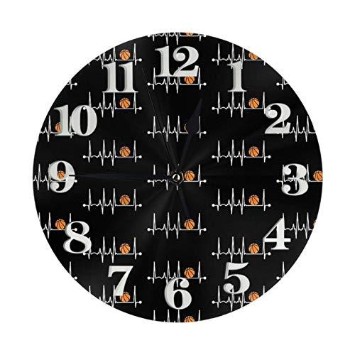 Reloj de pared redondo con diseño de latidos de baloncesto y números redondos, decoración del hogar moderna, ideal para sala de estar (25 cm)