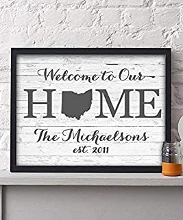 Welcome Home Paper Art Print | Personalized Home Decor | Wedding Gift | Housewarming Gift | Rustic Decor | Farmhouse Decor | Wall Decor | State Print | Christmas Gift Personalized | Family Name Sign