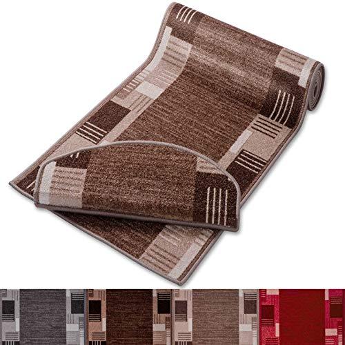 casa pura Läufer mit Zeitloser Musterung   beige   Qualitätsprodukt aus Deutschland   GUT Siegel   kombinierbar mit Stufenmatten   3 Breiten und 27 Längen (80x200cm)