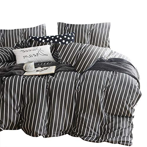 Wake In Cloud - Gray Striped Comforter Set, 100% Cotton Fabric with Soft Microfiber Fill Bedding, White Vertical Stripes Pattern Printed on Dark Grey (3pcs, Queen Size)