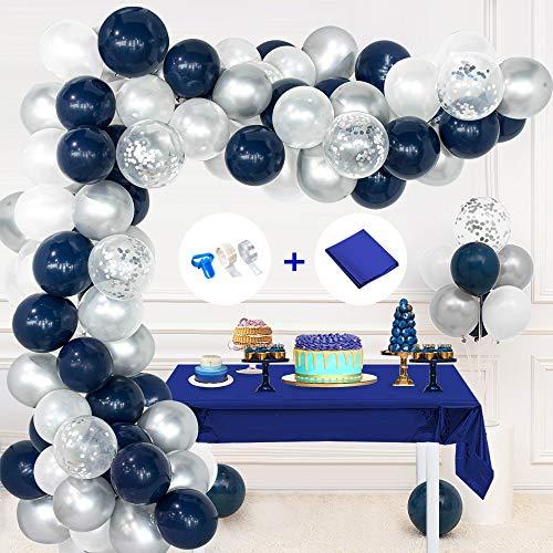 Blau Weiß Silber Geburtstag Ballons, dunkelblaue weiße Latexballons, metallische silberne Luftballons, silberne Konfetti-Luftballons, Bindewerkzeug, Luftballonsstreifen, Klebepunkte für Hochzeit Deko
