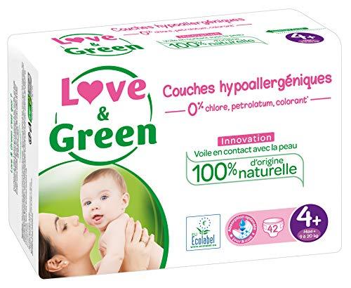 Love & Green Couches Bébé Hypoallergéniques 0% Taille 4+ (9-20 kg) 42 couches