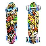 LISOPO Mini Cruiser Skateboard, 22'' 55cm Mini Skateboard Tavola Robusta, 4 PU Ruote Trasparenti Cuscinetto ABEC-7 per Bambini Adolescentii, Migliore Regalo di Natale/Compleanno per Bambini