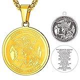 FaithHeart Medallón Circular Saint Michael Acero Metálico Colgante de Grabado Bíblico Cadena Ajustable Caja de Regalo Amigos Familia Amuleto de Protección de Bolsillo