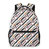 Keyboard Musical Instruments Classical White Unisex Backpacks With Adjustable Padded Shoulder Straps Casual Backpack