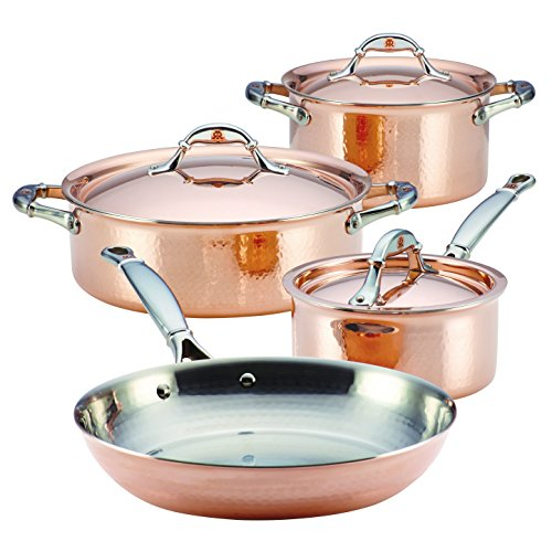 Ruffoni Symphonia Prima Stainless Steel Triply Copper Cookware Set/Pots and Pans Set - 7 Piece, Brown