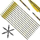 Narchery Tiro con Arco Flechas y saetas, 31' Pulgadas Arcos y Flechas para Caza o práctica, Incluye Flechas reemplazos, Tres Plumas Naturales, Hecho en Carbono Mixta, Camuflaje, 12 pcs