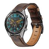 Miimall Cinturino 22mm Compatibile Con Huawei Watch GT 2 46mm/GT 2e, sostituzione cinturino in Pelle regolabile a sgancio rapido in pelle premium per Huawei Watch GT 2 46mm/GT 2e -Marrone