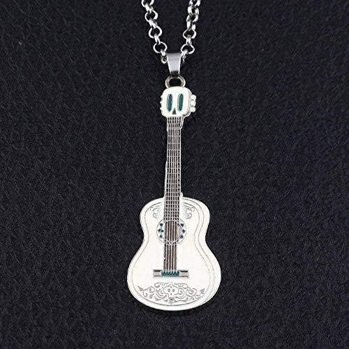 LBBYMX Co.,ltd Collar de Personalidad de Moda Collar de Titanio de Acero Blanco con Colgante de Guitarra, Collar de Mujer, Hombre, niños, Regalos de Moda