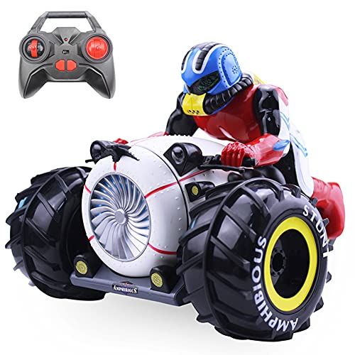 WDSWBEH Coche De Control Remoto Coche De Acrobacias Giratorio De Alta Velocidad Anfibio Motocicleta Conducir Juguete para Niños, Carga USB Giratoria De 360 Grados Niños