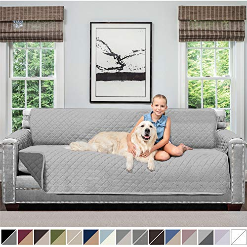 Sofa Shield Original Patent Pending Reversible X-Large Oversized Sofa Protector for Seat Width up to 78 Inch, Furniture Slipcover, 2 Inch Strap, Couch Slip Cover Throw for Dogs, Sofa, Lt Gray Charcoal