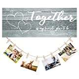 Together Wooden Hanging Photo Display Together is My Favorite Place to Be Rustic Wooden Sign Together Wooden Wall Picture Decor Together Photo Frame Wooden Boards with Clips for Home Wall Room Decors