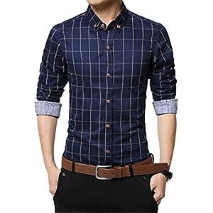 チェック ワイシャツ メンズ カジュアル 人気 かっこいい スレンダー お洒落 ボタンダウン 長袖 スリム yシャツ (NAIL39) (ネイビー 濃紺、L)