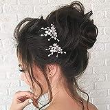 Unicra Épingles À Cheveux En Cristal De Perle Perles De Mariée Coiffures Pièces De Cheveux De Mariage Accessoires pour Mariée (Un paquet de 2)