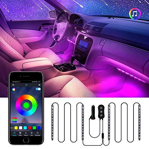 Auto Innenbeleuchtung LED mit USB-Port, mit APP und Regler RGB Auto Innenraumbeleuchtung, Zwei-Linien-Design, Wasserdichter Mehrfarbiger Musik Auto Streifen Kit, 29 Beleuchtungs Modi