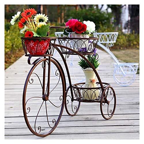 Maceteros Multilayer Hierro Bicicleta Flor de la bicicleta Balcón Sala de estar Pote de flores interior Estante simple Cactus Moderno Soporte de flores suculentas ( Color : Bronze , Size : Small )